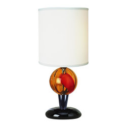 Joshua Marshal - One Light Off-White Shade Ebony Lacquer Sherbert Glass Table Lamp - One Light Off-White Shade Ebony Lacquer Sherbert Glass Table Lamp