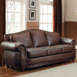 Tribecca Home - TRIBECCA HOME Myles Traditional Chocolate Bonded Leather Rolled Arm Sofa - This sofa is upholstered in a supple,rich chocolate bonded leather fabric accented by brass nailhead detailing that frames the seat back and arm fronts. Deep seat and back cushions with padded rolled arms invite you to sink in and relax.