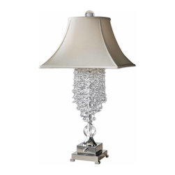 Uttermost - Uttermost Fascination II Lamp - Uttermost Fascination II Lamp is a part of Carolyn Kinder Collection by Uttermost Silver plated metal accented with cascading crystals and matching ornaments. The square bell with round top shade is a silkened champagne textile. Lamp (1)