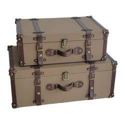 Screen Gems - Valencia Canvas Suitcases - Imagine you're packing your bags for the Orient Express every time you stash away a magazine or blanket. These vintage style suitcases will make a playful addition to your living room or bedroom. They're great for organizing all your treasures in charming style.