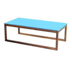 Commonhouse Furniture - Frame Coffee Table - Jettison your boring old coffee table for something more fun. The solid-colored rectangle forms the perfect table to brighten your room. Beautiful walnut legs support a unique table with a colorful lacquer finish.