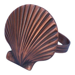 "Handcrafted Model Ships - Antique Copper Seashell Napkin Ring 2"" - Copper Napkin Ring - This Antique Copper Finish Seashell Napkin Ring 2"" is the perfect addition for those with a nautical theme kitchen. Strong, sturdy, and durable buy a set of these napkin rings to accommodate all of your guests. The antique copper finish on this seashell will infuse your dining area with a rustic nautical appearance. Dimensions: 2"" Long x 2"" Wide x 2"" High"