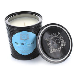 Aquiesse Decorative Tin Soy Candle with Matches in Shoreline - Pomegranate Sage as notes of fresh pomegranate, green sage, patchouli and teak swirl through the air. This lovely candle burns a lengthy 100 hours and is made with an exclusive soy wax formulation. Be calm and become centered by lighting the wick of Pomegranate Sage and find a little escapism in today�s chaos.