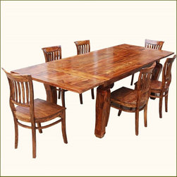 Rustic Lincoln Study Dining Table & 6 Barrel-back Chairs w Extension -