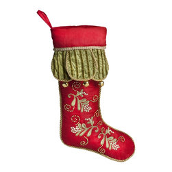 PRODUCTS   Christmas Stockings and Stocking Holders - Balsam Hill Mistletoe and Holly Stocking