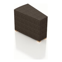 Harmonia Living - Arden Eclipse Modern Outdoor Wicker Wedge End Table - The Arden Eclipse Wicker Wedge End Table (SKU HL-ARD-E-WET-CH) extends your round sectional set while adding a piece of function to it. Its beautiful wicker is finished with a weathered Chestnut finish and is made from High-Density Polyethylene (HDPE), which ensures that the wicker will neither fade nor peel in regular sun exposure. A clear tempered glass makes cleaning the top an easy task while its thick-gauged aluminum frame provides a stable, durable foundation for your new coffee table.