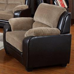 "Acme Furniture - Oisin Chair in Light Brown Corduroy, Dark Brown PU - Oisin Chair in Light Brown Corduroy, Dark Brown PU; Finish: Light Brown Corduroy, Dark Brown PU; Materials: Corduroy Match PU; Weight: 66 lbs; Dimensions: 47""L x 35""D x 37""H"