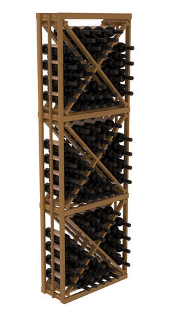 Wine Racks America - Full Height Diamond Bin Kit in Redwood, Oak + Satin Finish - A unique wine rack designed for longevity and simple wine storage. Engineered with our modular cellar specifications for seamless integration with any of our modular wine rack kits. Functions well as either a freestanding wine rack or as part of a complete wine cellar design.