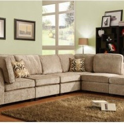 Ridgetown 6 Piece Chenille Sectional - Build your own seating scheme - the Ridgetown 6 Piece Chenille Sectional gives you all the building blocks you need. Crafted with soft beige chenille fabric upholstery, this streamlined sectional boasts three armless chairs and two corner seats, outfitted with plush back cushions, toss pillows, and tapered wood legs. A coordinating ottoman is included.About Homelegance, Inc.Homelegance takes pride in offering only the highest quality home furnishings that incorporate innovative design at the best value. From dining sets to mirrors, sofas, and accessories, Homelegance strives to provide customers with a wide breadth and depth of selection as well as the most complete and satisfying service available for their category. Homelegance distribution centers are conveniently located throughout the United States and Canada.