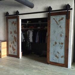 Sliding Barn Door - Bipart Reclaimed Wood / Galv Industrial Doors - Thomas Porter