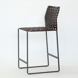 Mark Albrecht - Woven High Back Counter Stool, Black Steel/Dark Brown - Mark Albrecht was trained as a sculptor and pursued his studies at the Ecole Nationale Superieure des Beaux-arts in Paris.  He uses as few elements as possible to make pieces that are timeless, functional, and resilient. Leather, the natural complement to the signature metal framework of his pieces, offers both structural durability, as well as an element of warmth and softness where the pieces come into contact with the body.