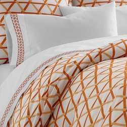 Jonathan Adler Orange Mustique Duvet Cover - This fab orange criss-cross bedding will make you wanna jump! jump! right into bed.