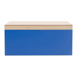 WOLF - Vaxholm Jewelry Box, Dark Blue - The Vaxholm Large Jewelry box is perfect for storing your jewelry and personal items. This jewelry box comes in a variety of fresh and vibrant colors including green, orange, white, aqua, yellow, and dark blue. Each large jewelry box features a vanity mirror behind the lid and a divided lift out tray.