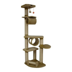 "Armarkat - 74"" Classic Cat Tree in Dark Beige - Features: -Hanging tunnel.-Covered with beige faux fur.-Easy to assemble with step by step instruction and tools.-Constructed of pressed wood.-Distressed: No.Dimensions: -Overall Dimensions: 74'' H x 32'' W x 36'' L.-Base Dimensions: 24'' W x 20'' D.-Perch Dimensions: 14'' W x 12'' D.-Posts: 4.5'' Dia.-Overall Height - Top to Bottom: 74.-Overall Width - Side to Side: 74.-Overall Depth - Front to Back: 36.-Overall Product Weight: 48 lbs."