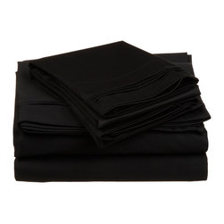650 Thread Count Egyptian Cotton Olympic Queen Black Solid Sheet Set - 650 Thread Count Egyptian Cotton oversized Olympic Queen Black Solid Sheet Set