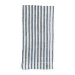 """Vintage Ticking Stripe Dinner Napkin, 20"""", Blue Dusk, Set of 4, - Crisp as a striped Oxford shirt, our cotton napkins are woven from yarn-dyed cotton for lasting brightness. 20"""" square Woven of pure cotton. Yarn dyed for vibrant, lasting color. Monogramming is available at an additional charge. Monogram will be placed at one corner of each napkin. Set of 4. Machine wash. Imported."""