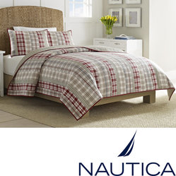 Nautica - Nautica Harber Hill Cotton Reversible Quilt (Shams Sold Separately) - This reversible cotton quilt allows you to get two separate looks with one quilt and sham set. It is machine washable, making cleaning a cinch, and its cotton and polyester fill will keep you warm. The patchwork pattern works with many decors.
