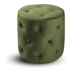 Avenue Six - Avenue Six Curves Tufted Round Ottoman in Spring Green Velvet - Avenue Six - Ottomans - CVS905G28 - Avenue Six lets you find all the home furnishings to forge ahead with your sense of style and surround yourself with the things you love. The Curves collection by Ave Six is for those who seek a more straightforward approach to creating the perfect room setting. This elegant collection Features: retro-contemporary styling along with an innovative RTA design for quick and easy assembly. The collection includes a spacious sofa and coordinated chairs. Once assembled Avenue Six furniture becomes indistinguishable from assembled high end brands. The Curves collection from Avenue six has it all: form and function combined with an incredibly stylish exterior.