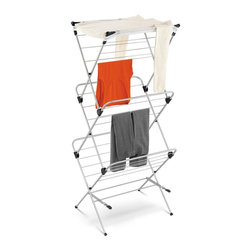 Honey Can Do - 3-Tier Mesh Top Drying Rack 43 Linear Feet - 48 feet of drying space- maximum drying in minimum space. Coated steel frame- sturdy and rustproof. Mesh top- lay sweaters and other items flat to dry. Folds to 2.5 inches deep- easy storage. 23.62 in. x 20.08 in. x 59.05 in.