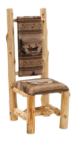 Fireside Lodge Furniture - Cedar Upholstered High-Back Log Side Chair (P - Fabric: Peters CabstoneCedar Collection. Northern White Cedar logs are hand peeled to accentuate their natural character and beauty. Clear coat catalyzed lacquer finish for extra durability. 2-Year limited warranty. 19 in. W x 19 in. D x 47 in. H (35 lbs.)