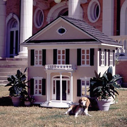 Colonial Mansion Dog or Cat House - This dog house is definitely for the southern belle doggie. This replica is precious and would look adorable in a traditional back yard.