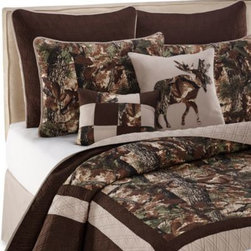 Keeco, Llc - Tuck Quilt - Bring the majestic beauty of the great outdoors into your bedroom with the Tuck quilt. The top of bed is decorated with a forest scene in a lovely set of natural hues with stitched borders that give it an extra pop of dimension.