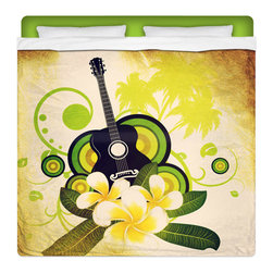 "Hawaiian Plumeria and Guitar King Size Surfer Bedding Sheet Set - Our ""Hawaiian Plumeria and Guitar"" King Size Surf Sheet Set is made of a lightweight microfiber for the ultimate experience in softness~ extremely breathable!"