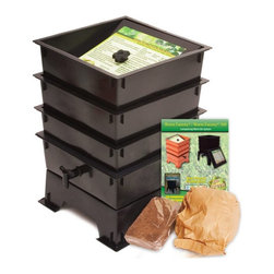 """The Worm Factory - The Worm Factory 3-Tray Recycled Plastic Worm Composter - Black - 3-TRAY BLACK - Shop for Garden Equipment from Hayneedle.com! The Worm Factory 3-Tray Recycled Plastic Worm Composter - Black is like a capsule hotel in Tokyo except the guests are 6 000 worms and it goes in your backyard. Made from 100% recycled plastic this composter allows worms to happily nosh 24/7 on your kitchen waste and whatnot providing you rich organic material. Odorless well-organized green and best of all the worms will eat your junk mail. Or bills. What is The Worm Factory and how does it work?Unique and ingenious the Worm Factory is composter comprised of stacking trays in which worms eat your scraps and leave behind rich organic material. Fill each tray with scraps like vegetables fruits egg shells coffee grounds paper and junk mail and in turn you'll get nutrient-rich compost for your garden. Worm castings are known to be the very best compost available. Your plants will thrive with this all-natural compost. Worms start in the bottom tray and work upward as they break down the waste. The worms leave behind the stuff and you don't even have to sort through the wiggly friends at all as they're already on the next tray up. Plus nutrient-rich moisture is captured in the collection tray and can be used as liquid fertilizer known as """"worm tea."""" What are the benefits of using The Worm Factory? It's Compact: It stacks instead of spreading out so if you're short on space no worries. The Worm Factory takes up a minimal amount of space. Odorless: With a smart ventilation lid and specific suggestions in the instruction manual The Worm Factory remains odorless as it works tirelessly to create rich organic material. So breathe easy! Easy to Manage: The trays are lightweight and easy to stack and move and the accompanying instruction manual is chock full of suggestions to make composting easy and seamless. Saves Time: Forget running out to your composter to tumble and turn it! Let t"""