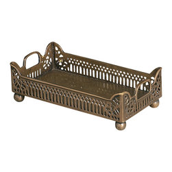 Antique Brass Gallery Napkin Holder - Sturdy ball feet of dark brass elevate the Gallery Napkin Holder, setting off the metallic piercework tray in flawless elegance. The piece has a weighty impression created by small geometric motifs that combine into a delicate framework for the tray's contents. Make an offering of table napkins or guest towels exquisite by arranging necessities within the walls of this suave tray.