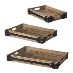 Home Decorators Collection - Fadia Trays - Set of 3 - Lined in metal industrial-style trim, our wood tone Fadia Trays will look great while fulfilling whatever purpose you have for them. Use as serving trays or a catch-all in the foyer or kitchen. They also work great placed on an ottoman or coffee table to hold magazines and the remote control. Includes fir wood construction and metal trim. Each tray features two open handles. Trays will coordinate well with our Fadia Trunks as a storage system.