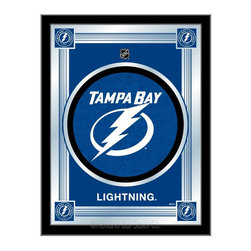 """Holland Bar Stool - Holland Bar Stool Tampa Bay Lightning Logo Mirror - Tampa Bay Lightning Logo Mirror belongs to NHL Collection by Holland Bar Stool The perfect way to show your team pride, our logo mirror displays your team's symbols with a style that fits any setting.  With it's simple but elegant design, colors burst through the 1/8"""" thick glass and are highlighted by the mirrored accents.  Framed with a black, 1 1/4 wrapped wood frame with saw tooth hangers, this 17""""(W) x 22""""(H) mirror is ideal for your office, garage, or any room of the house.  Whether purchasing as a gift for a recent grad, sports superfan, or for yourself, you can take satisfaction knowing you're buying a mirror that is proudly Made in the USA by Holland Bar Stool Company, Holland, MI.   Mirror (1)"""