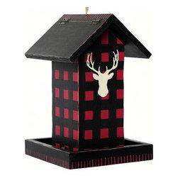 Outside Inside - Buffalo Check Blanket Bird Feeder - Create the perfect outdoor mood in your backyard with this Buffalo Check Blanket Bird Feeder. Featuring a majestic deer head set against a stunning red checkered backdrop, this feeder brings a casual yet tasteful charm to your outdoor living areas.