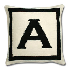 Jonathan Adler Letter Pillow - This needlepoint pillow is a personalized gift. Order up a monogrammed accent for a loved one's living room or bedroom with very little fuss.