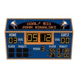 RR - Personalized Hockey Scoreboard Peel and Stick Wall Mural - Personalized Hockey Scoreboard Peel and Stick Wall Mural