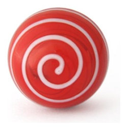 "Knobco - Swirl Glass Knob, Red knob with White Swirl - Red knob with White Swirl glass knob. Unique glass knobs for your kitchen cabinets. 1"" in    diameter. Includes screws for installation."