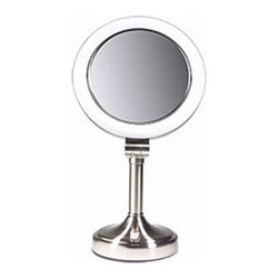 Zadro - Dimmable Sunlight Vanity Make-Up Mirror - This Dimmable Sunlight Vanity Make-Up Mirror combines practical use with sophistication. The duel-sided mirror uses advanced dimmable lighting to adjust to your needs. The light that is produced emulates natural sunlight providing you with optimal views, especially useful for make-up application.