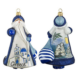 Frontgate - Glitterazzi International Greece Santa Ornament - Each ornament takes up to 7 days to produce. Constructed of 100% European-made glass. Arrives in a handsome black lacquered box for gifting and safekeeping. Hanger is included for easy display. Our collectible Glitterazzi International Ornament from Joy to the World was created with the utmost attention to quality and detail. The finest artisans in Poland individually mouth blow and hand paint each ornament, achieving new levels of innovation and artistic integrity in their designs. Using only traditional old world production methods and materials sourced from European countries, they ensure that each ornament is an impressive work of art that will be treasured for generations. . . . . Made in Poland.