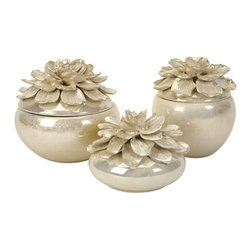 """IMAX CORPORATION - Blair Hand-Sculpted Floral Boxes - Set of 3 - The hand-sculpted Blair Floral Boxes, are a beautiful way to sort jewelry or other small items. With their lustrous glaze and delicate petals, they are perfect for displaying in a bedroom, sewing room or garden room. Set of 3. Set of 3 in various sizes measuring around 22.25""""L x 16.75""""W x 9.25""""H each. Shop home furnishings, decor, and accessories from Posh Urban Furnishings. Beautiful, stylish furniture and decor that will brighten your home instantly. Shop modern, traditional, vintage, and world designs."""
