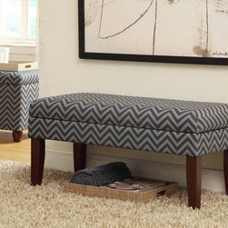Kinfine - Gray/Glacier Blue Chevron Decorative Storage Bench - Multi-functional storage bench that works in many rooms.