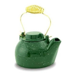Achla - 2 1/2 Quart Cast Iron Humidifying Kettle in G - Take advantage of the long lasting style and flawless function of this humidifying kettle. Features a traditional design with a green enamel finish and cast iron construction. Perfect for use over the fireplace or stove. Color/Finish: Green. Porcelain enamel cast iron. 2.5 quart