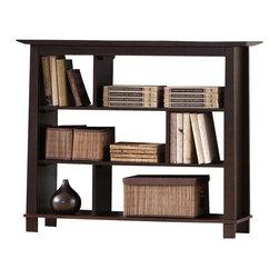 Baxton Studio - Baxton Studio Havana Brown Wood Modern Bookcase (Short) - Simultaneously having a classic and contemporary feel, the Havana Bookcase is a versatile design with just the right touch for a sophisticated, casual living space. This is a practical yet elegant three shelf low bookshelf that features offset shelf dividers for added intrigue. The contemporary bookcase is built with dark brown wenge veneered MDF and particle board with eco-friendly rubber wood. To clean, wipe with a dry cloth. Made in Malaysia; assembly is required. A matching Havana end table, tall bookshelf, TV cabinet, and coffee table are also offered (each sold separately).