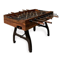 Kathy Kuo Home - Bradley Industrial Reclaimed-Wood Iron Foosball Table - Let the games begin! This exquisitely crafted iron foosball table is set to elevate your game room to the highest of heights. Constructed from rich reclaimed hardwood in deep mahogany tones and featuring handmade aluminum players, this is a foosball table like none other. A stone playing surface ensures absolute accuracy, while solid construction guarantees sportsmanship for years to come. Enjoy a one year warranty on this piece.