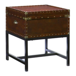 """Holly & Martin - Holly & Martin Yorkshire Storage End Table-Espresso X-21-3-420-062-10 - With a spacious hidden storage compartment and a restyled antique design, this end table is not only beautiful, but functional as well. Studded accents line the edges of this sleek living room table to give it an extra element of design. A metal handle on either end of this table make moving it easy as well, so try it in your living room or even at your bedside for a new look. You may also pair this end table with the matching cocktail table for a complete update.   - 20"""" W x 20"""" D x 23"""" H                                                                                 - Storage: 18"""" W x 18"""" D x 6"""" H                                                                         - Espresso finish                                                                                       - Antique bronze hardware                                                                               - Black frame                                                                                           - Veneer, MDF and metal                                                                                 - Assembly required"""