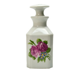 Lavish Shoestring - Consigned Limoges Porcelain Oil/Vinegar Condiment Bottle & Stopper, Floral Decor - This is a vintage one-of-a-kind item.