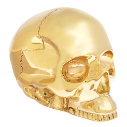 D.L. & Co. Large Brass Skull - You know what your desk is missing? A gold-plated brass skull, that's what.
