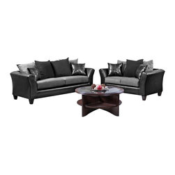 Chelsea Home Furniture - Chelsea Home Gamma 2 Piece Living Room Set in Jefferson Black - Sierra Graphite - Mechanism or Special Decorative Features Includes toss pillows as shown, Fabric Swatch Fabric samples available upon request, Cover Choices Jefferson BlackSierra Graphite, Seating Comfort Medium, Frame Construction All of our frames are made from solid kiln dried hard woods and engineered wood products  The frames are built with corner blocks for more strength and durability, Spring System 8 gauge sinuous wire springs are used to maintain comfortable seating, Cushion Composition Cushions are made from 15 high density foam with 4 cores and a 15 fiber wrap cushioning, Fabric 100 PU100 Polyester Microfiber, Sofa 1, Loveseat 1