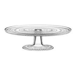 "iittala - Kastehelmi Cake Stand - Features: -Ideal for serving cakes, pastries and appetizers.-Product Type: Cake stand.-Collection: Kastehelmi.-Color: Clear.-Distressed: No.-Powder Coated Finish: No.-Gloss Finish: No.-Material: Glass.-Number of Items Included: 1.-Non Toxic: Yes.-Lead-Free: Yes.-Formal: Yes.-Shape: Round.-Pattern: Novelty.-Style: Traditional.-Oven Safe: No.-Microwave Safe: No.-Dishwasher Safe: No.-Refrigerator Safe: Yes.-Freezer Safe: No.-Food Safe: Yes.-Rotating: No.-Folding: No.-Stackable: No.-Umbrella Hole: No.-Footed: No.-Nesting: No.-Handles: No.-Utensil Included: No.-Lid Included: No.-Outdoor Use: No.-Commercial Use: Yes.-Product Care: Hand wash only .-Country of Manufacture: Italy.Dimensions: -Overall Height - Top to Bottom: 3.59"".-Overall Width - Side to Side: 12.39"".-Overall Depth - Front to Back: 12.39"".-Platter Thickness: 0.5"".-Base: -Base Height - Top to Bottom: 3"".-Base Width - Side to Side: 5.75"".-Base Depth - Front to Back: 5.75""..-Lid: No.-Folded: No.-Overall Product Weight: 3.81 lbs."
