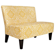 Contemporary Indoor Benches angelo:HOME Davis Modern Damask Golden Yellow & Cream Settee - HAL-LX-PPG24A
