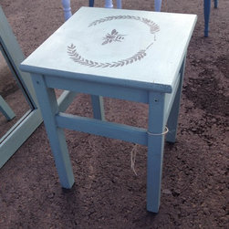 Blue Bee Side Table - All furniture refinished by Dana Siegel