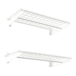 HyLoft - Wall Shelf in White - Set of 2 - Set of 2. High grade steel hardware. Finished and unfinished wall installation. Installs side by side and stacked. Patented low profile brackets increase storage area. Rod for hanging clothes. Warranty: Lifetime limited. Made from steel. Scratch resistant powder coat. Minimal assembly required. Weight Capacity: 100 lbs.. 36 in. W x 18 in. D x 4.25 in. H (21.83 lbs.). Assembly Instructions. HyLoft Wall Storage Systems make the most of wasted wall space, and are great for the garage, closet, basement, laundry room, shed and more. These are the largest wall mounted shelves on the market and offer 50% more storage per shelf than most alternative wall mounted shelves. Take advantage of your unused wall space with our heavy duty steel wall shelving.